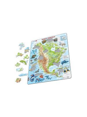 Пазл Животные Северной Америки (Русский) LARSEN AS. Цвет: белый, голубой, желтый, зеленый, оранжевый, синий