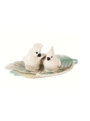 Соль и перец Какаду Elff Ceramics. Цвет: белый, зеленый, голубой
