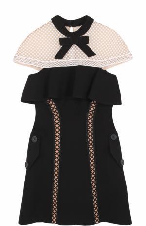 Приталенное мини-платье с кружевной отделкой self-portrait. Цвет: черно-белый