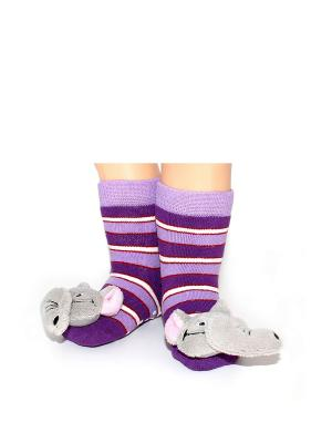 Носки-тапочки HOBBY LINE. Цвет: белый, розовый, серый, фиолетовый