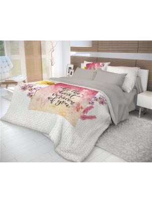 Комплект постельного белья 2,0-сп, ВОЛШЕБНАЯ НОЧЬ DIGITAL, ранфорс, 50*70см, стиль-Этно,  Postcard. Цвет: темно-серый, светло-коралловый, серый меланж