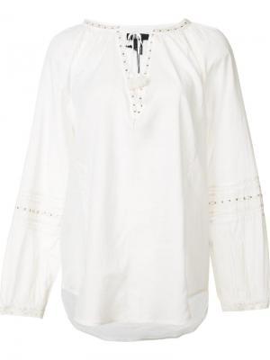 Блузка с V-образным вырезом Paige. Цвет: белый