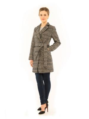 Пальто GallaLady. Цвет: темно-синий, серый меланж
