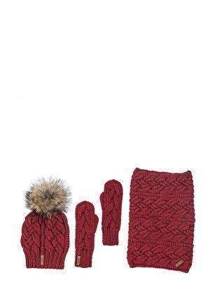 Комплект варежки, снуд и шапка Sava Mari. Цвет: красный