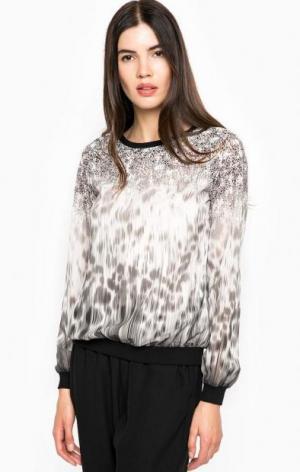 Блуза с животным принтом Guess. Цвет: серый
