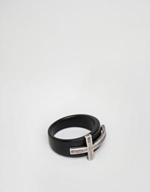 Seven London Черное кольцо с серебристым крестиком. Цвет: черный