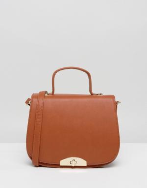 Marc B Оранжевая сумка-седло через плечо с ручкой и съемным ремешком. Цвет: оранжевый