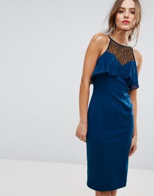 BCBG MaxAzria Облегающее платье с рюшами Illusion. Цвет: синий