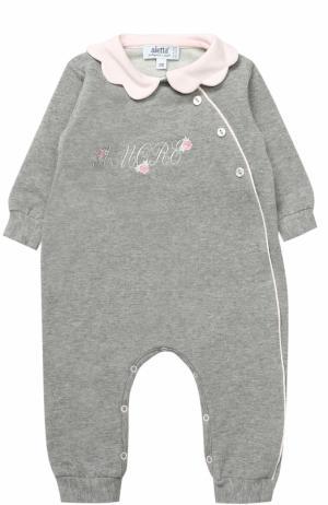 Хлопковая пижама с декоративной отделкой Aletta. Цвет: серый