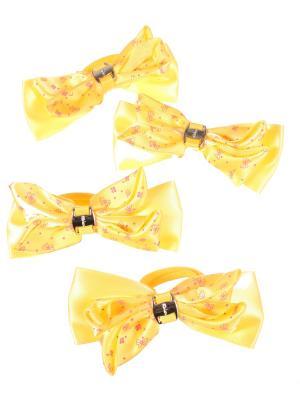 Резинки для волос бантики с золотой пряжкой разноцветные принтом ромашка, 4 штуки, желтые Радужки. Цвет: желтый