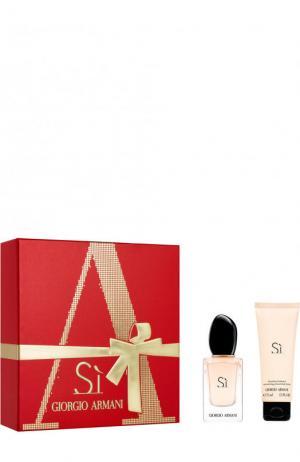Набор Si: Парфюмерная вода + Молочко для тела Giorgio Armani. Цвет: бесцветный