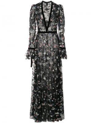 Вышитое платье с длинными рукавами Monique Lhuillier. Цвет: чёрный