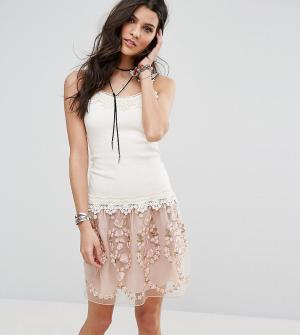 Anna Sui Ярусное платье с кружевом эксклюзивно для. Цвет: розовый