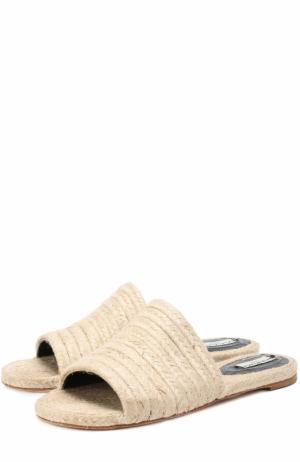Плетеные сабо из текстиля Balenciaga. Цвет: бежевый