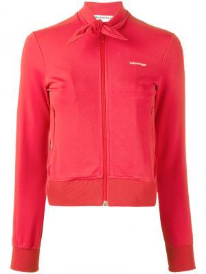 Куртка с завязками на шее Balenciaga. Цвет: красный