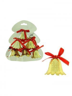 Ёлочные игрушки Колокольчики волнистые с рисунком (набор 6 шт.) А М Дизайн. Цвет: золотистый, желтый
