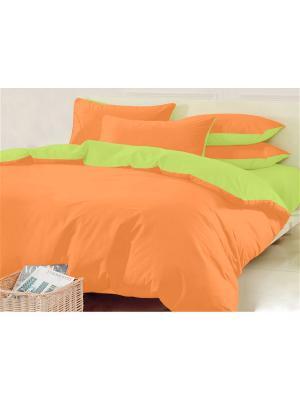 Двуспальное постельное белье. Трикотаж. Хлопковый Край. Цвет: салатовый, светло-оранжевый
