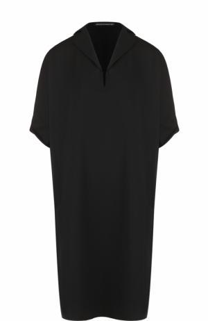 Платье-свободного кроя с отложным воротником Yohji Yamamoto. Цвет: черный