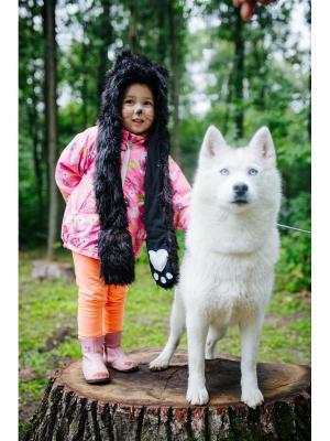Шапка Черный Волк детская ZVEROSHAPKI. Цвет: черный