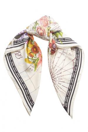 Шелковый платок Gucci. Цвет: разноцветный, кремовый, черный