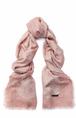 Кашемировый шарф с принтом Franco Ferrari. Цвет: светло-розовый