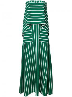 Длинное полосатое платье без бретелей Goen.J. Цвет: зелёный