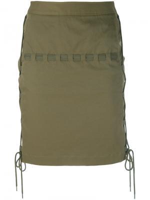 Мини-юбка с веревочной отделкой Chalayan. Цвет: зелёный