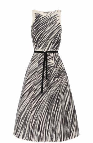 Приталенное платье-миди с поясом Vika Gazinskaya. Цвет: черно-белый