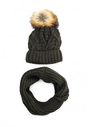 Комплект снуд и шапка Fete. Цвет: хаки