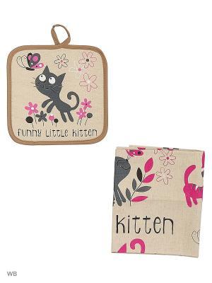Набор кухонный Котики на полянке GrandStyle. Цвет: серый, розовый