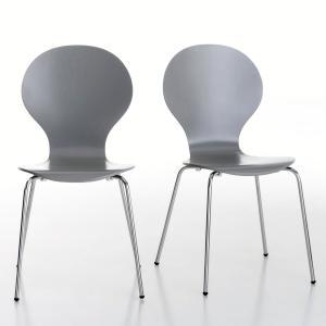 2 стула с выгнутыми спинками Janik La Redoute Interieurs. Цвет: белый,серый,черный