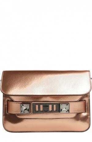 Сумка PS11 Mini из металлизированной кожи Proenza Schouler. Цвет: бронзовый