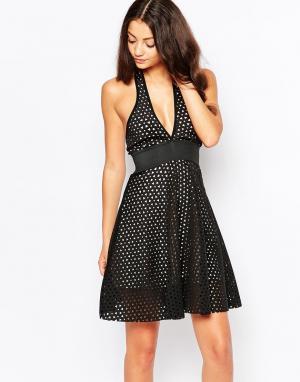 Lipstick Boutique Короткое приталенное платье с перекрестным передом. Цвет: черный