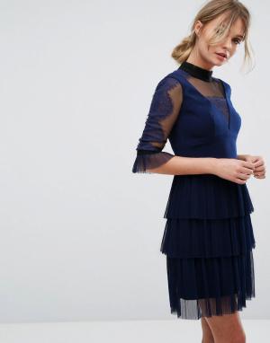 Three Floor Платье мини с плиссированным верхним слоем юбки. Цвет: темно-синий