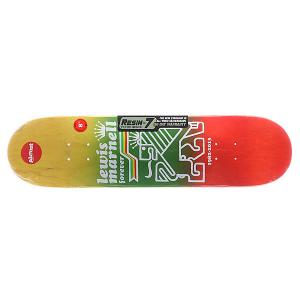Дека для скейтборда  S5 Lewis Farewell R7 Rasta 31.6 x 8.0 (20.3 см) Almost. Цвет: красный,зеленый,желтый