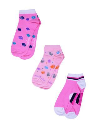 Носки женские,комплект 3шт Malerba. Цвет: розовый