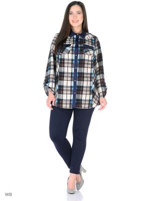Блузка MASTERITSA NEW CLASSIC. Цвет: темно-синий, коричневый