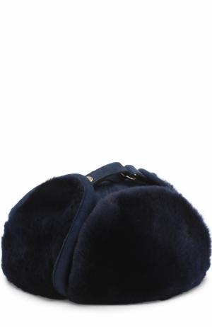 Меховая шапка-ушанка Billionaire. Цвет: темно-синий