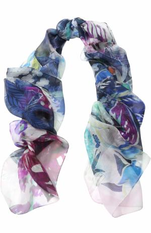 Шелковый шарф с принтом St. John. Цвет: темно-синий