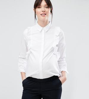 ASOS Maternity Строгая рубашка для беременных с рюшами спереди. Цвет: белый