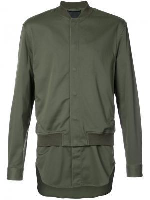 Куртка-бомбер с элементом рубашки 3.1 Phillip Lim. Цвет: зелёный
