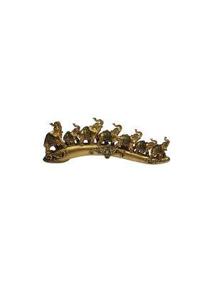 Статуэтка Семь Слонов Русские подарки. Цвет: темно-коричневый, бронзовый