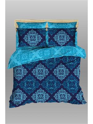 Комплект постельного белья Василиса Царевна из сатина 2 спальный. Цвет: голубой, синий