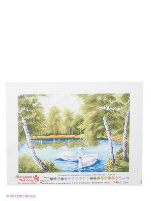 Рисунок на канве Тихая заводь Матренин Посад. Цвет: белый, голубой, оливковый