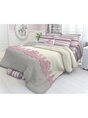 Комплект постельного белья 2,0-сп, VEROSSA,  наволочки 70*70см, GIMENEY Verossa. Цвет: серый, бежевый, красный