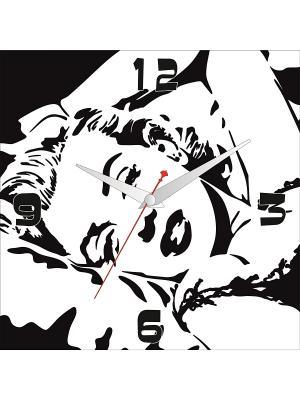 Картина стеновая с часовым механизмом 400*400мм ДСТ. Цвет: белый, черный