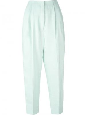 Укороченные брюки со складками Delpozo. Цвет: зелёный