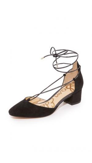 Туфли на каблуке Loretta со шнуровкой Sam Edelman. Цвет: голубой