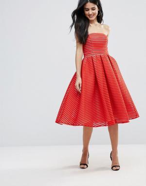 Forever Unique Strapless Midi Skater Dress. Цвет: красный