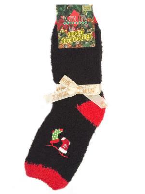 Носочки махровые новогодние HOBBY LINE. Цвет: зеленый, красный